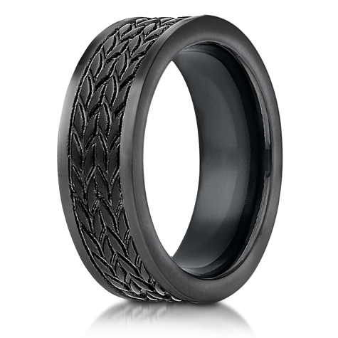7.5mm Black Cobalt Chrome Ring with Tread Pattern