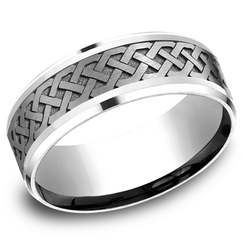 14kt White Gold 8mm Celtic Knot Wedding Band