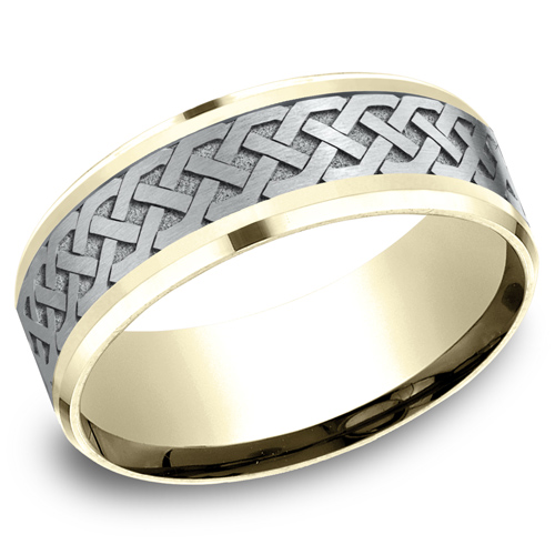 14kt Two-Tone Gold 8mm Celtic Knot Wedding Band