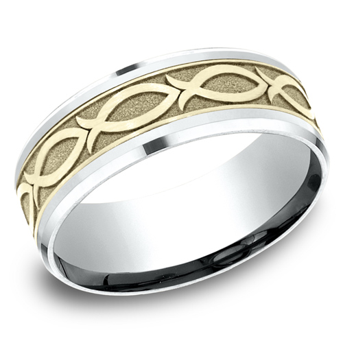 14kt White and Yellow Gold 8mm Ichthys Fish Wedding Band