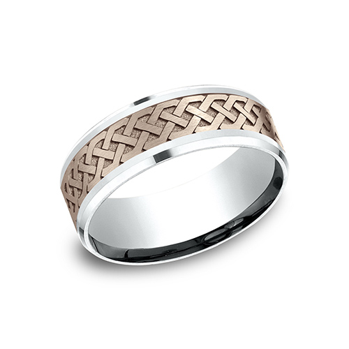 14kt White and Rose Gold 8mm Celtic Knot Wedding Band