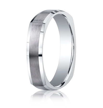 Argentium Silver 5mm Comfort-Fit Four-Sided Wedding Band