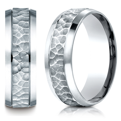 Platinum 7.5mm Beveled Wedding Band with Hammered Center