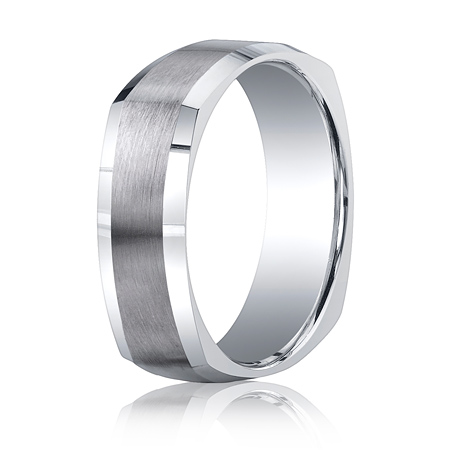 Argentium Silver 7mm Comfort-Fit Four-Sided Wedding Band