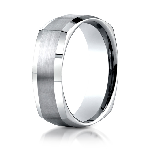 7mm 14kt White Gold Four Sided Wedding Band with Satin Finish