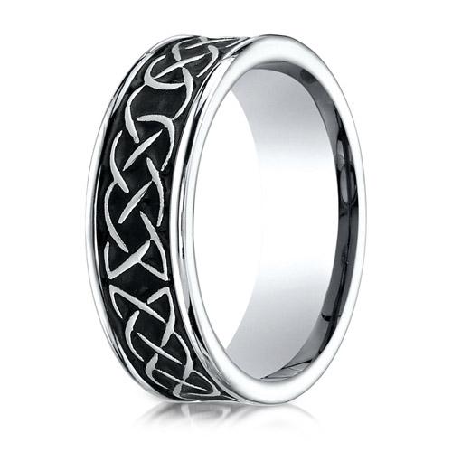 7mm Black Cobalt Chrome Ring with Celtic Knot