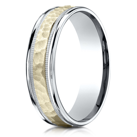 6mm 14kt Two Tone Gold Band with Spin Satin Finish