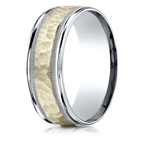 8mm 14kt Two Tone Gold Hammered Band with Milgrain Edges