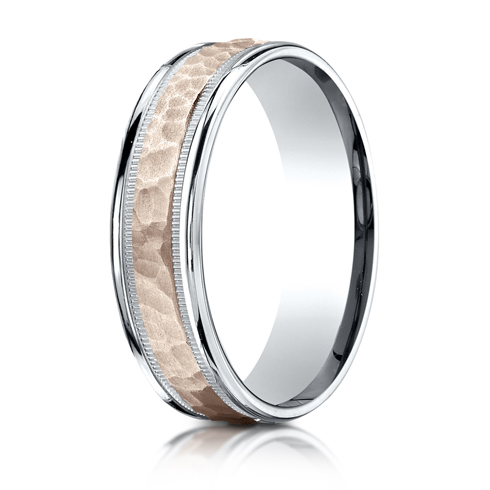 6mm 14kt White and Rose Gold Hammered Wedding Band