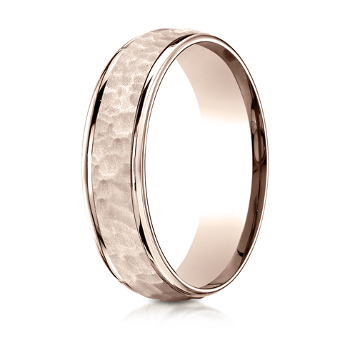 6mm 14kt Rose Gold Wedding Band with Hammered Finish