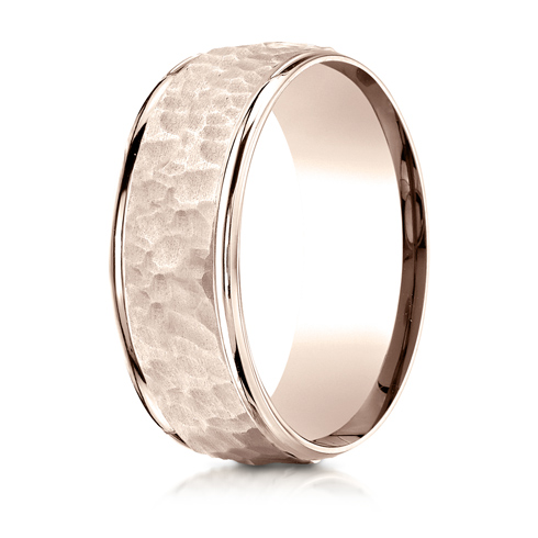 8mm 14kt Rose Gold Wedding Band with Hammered Finish