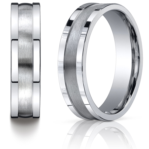 6mm Satin Platinum Band with Square Edges