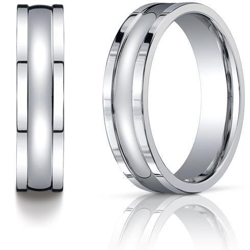 Platinum 6mm Wedding Band with Square Edges