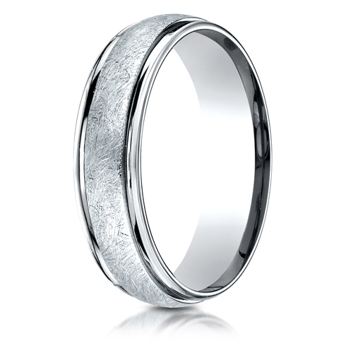 6mm 14k White Gold Wedding Band with Swirled Spin Finish