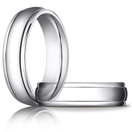 14kt White Gold 6mm Wedding Band with Ridged Edges