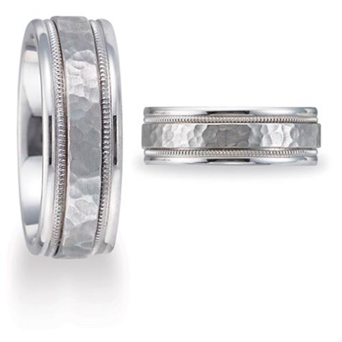 14kt White Gold 8mm Hammered Wedding Band