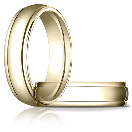 14kt Yellow Gold 6mm Band with Ridged Edges