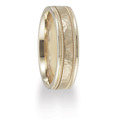 14kt Yellow Gold 6mm Hammered Wedding Band