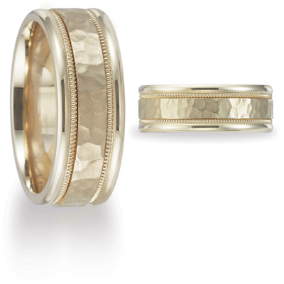 14kt Yellow Gold 8mm Hammered Wedding Band