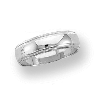 14kt White Gold 6mm Double Milgrain Wedding Band