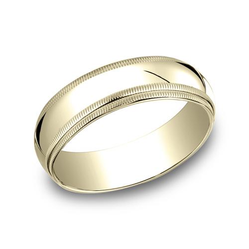 14kt Yellow Gold 6mm Double Milgrain Wedding Band