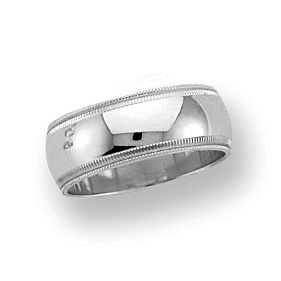 8mm Double Milgrain Band - 14k White Gold
