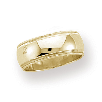 14kt Yellow Gold 8mm Double Milgrain Wedding Band
