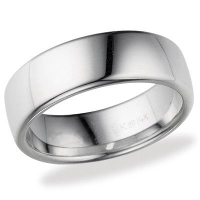 14kt White Gold 7.5mm Comfort Fit Wedding Band