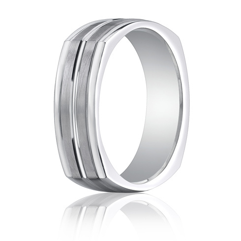 7mm 14kt White Gold Four Sided Wedding Band with Center Cut