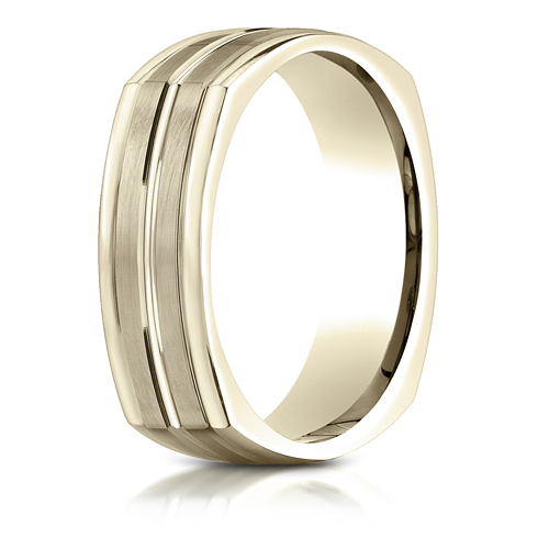 7mm 14kt Yellow Gold Four Sided Wedding Band with Center Cut