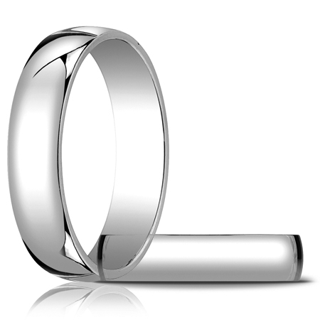 14kt White Gold 5mm Light Oval Wedding Band