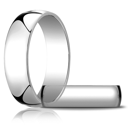 14kt White Gold 6mm Light Oval Wedding Band