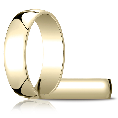 14kt Yellow Gold 6mm Light Oval Wedding Band