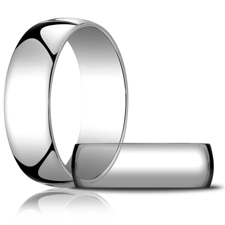 14kt White Gold 7mm Light Oval Wedding Band