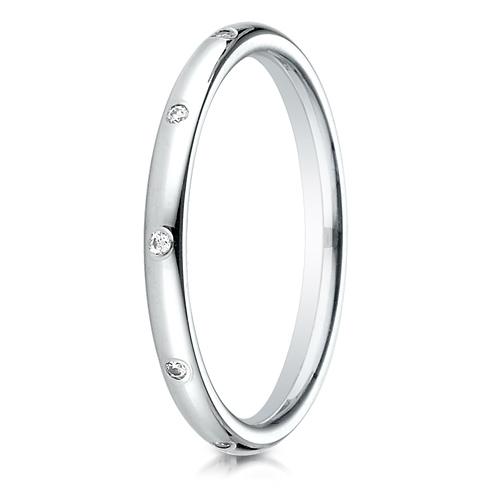 1/10 ct Diamond Interval 14kt White Gold 2mm Wedding Band