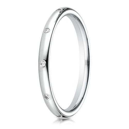 Platinum 1/10 ct Diamond Interval 2mm Wedding Band