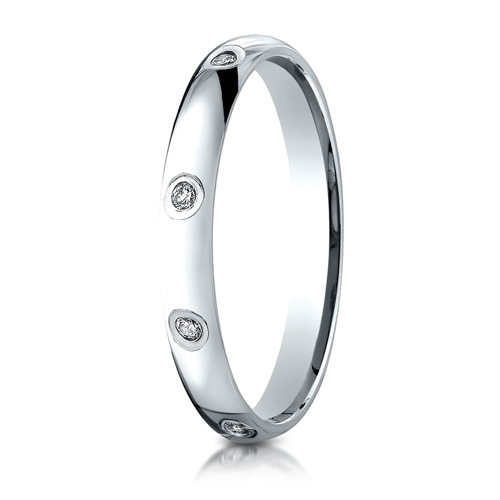 Platinum 1/6 ct Diamond 3mm Wedding Band