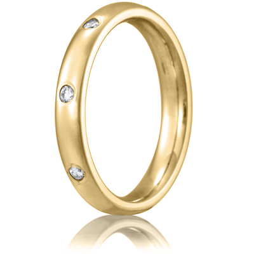 14kt Yellow Gold 1/6 CT Diamond Wedding Band 3mm