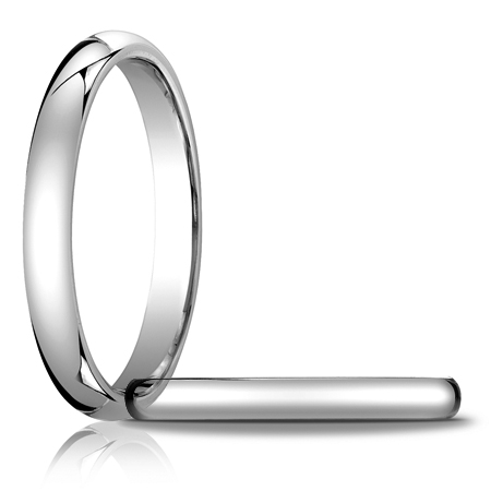 14kt White Gold 3mm Heavy Comfort Fit Wedding Band