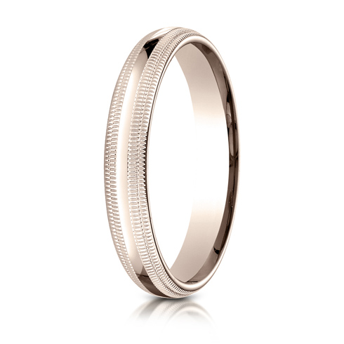 4mm 14kt Rose Gold Comfort Fit Double Milgrain Band