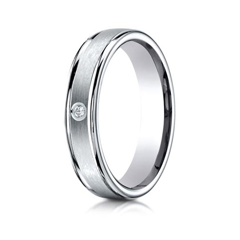 .02 ct Diamond Platinum 4mm Wedding Band with Rounded Edges