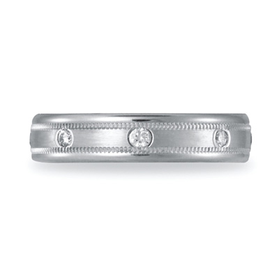 1/6 CT Diamond Platinum Band 4mm with Milgrain