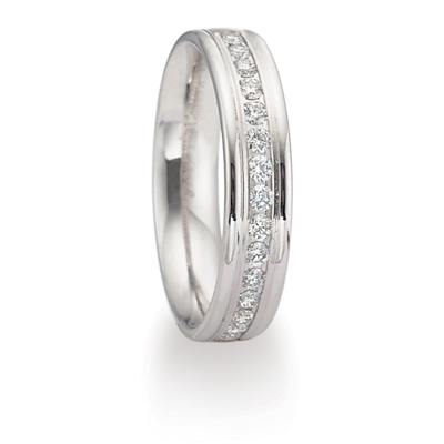 2/5 ct Diamond Platinum 4mm Wedding Band with Rounded Edges