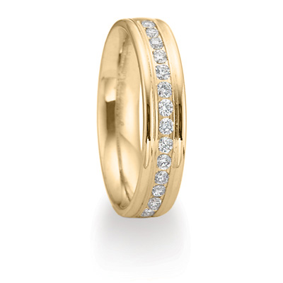 14k Yellow Gold 2/5 CT Diamond Wedding Band with Rounded Edges 4mm