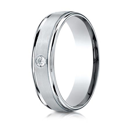 .08 CT Diamond Platinum 6mm Wedding Band with Rounded Edges