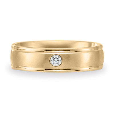 14k Yellow Gold .08 CT Diamond 6mm Wedding Band with Rounded Edges