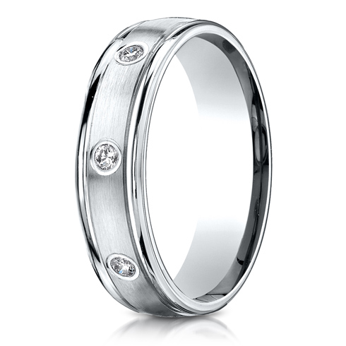1/3 ct Diamond Platinum 6mm Band with Rounded Edges