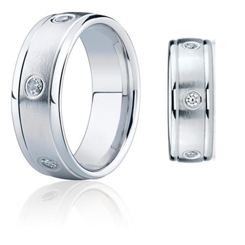 1/2 ct Diamond Wedding Band Rounded Edges 8mm 14k White Gold