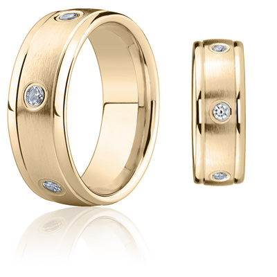 1/2 CT Diamond Band 8mm - 14k Yellow Gold