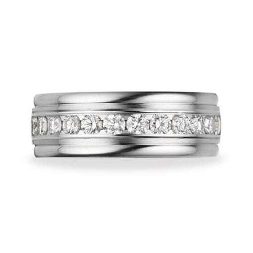 1 ct Diamond Wedding Band Rounded Edges 8mm 14k White Gold